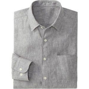 Uniqlo men's gray linen shirt size L